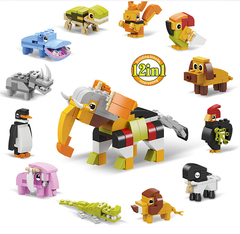 12-in-1 Animal Building Block Series Children's Creative Assembly of Small Particle Building Blocks 1 Normal