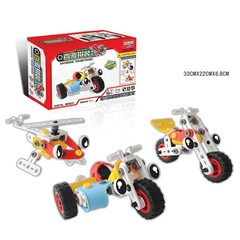 Children's DIY Soft Rubber  Repeated Use 3-in-1 Automotive Aircraft Model Building Blocks 1 normal