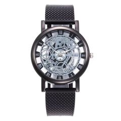 【Special Offer】Hollow Watch Men's Alloy Mesh Band Watch Creative Boys' Quartz Watch Black