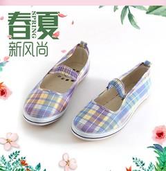 Fashion  Canvas Plaid Shoes Soft-soled walking Driving Shoes Lightweight Flat Shoes Women Shoes colour plaid 41