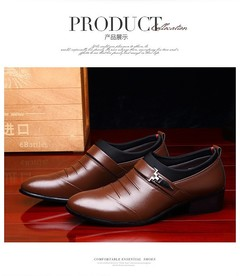 2019 New Men Dress Shoes Business Formal Brogue Pointed Toe  Wedding Shoes brown 43 super fiber leather