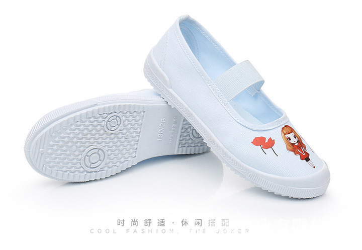 Kindergarten shoes embroidered shoes gym shoes canvas student shoes  size 22-34 white +red 22