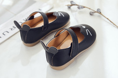 Toddler shoes soft supper leather shoes velcro tape baby shoes suitable for 12-24 months size 15-19 black 15