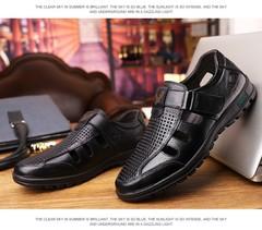 Hollow breathable cow leather men shoes office shoes sandals shoes velcro tapes shoes size 38-44 black 42