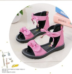 2019 New girl sandals shoes  bow back -zip princess shoes children's student shoes large size 27-37 pink 27