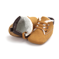 baby shoes winter fashion  leather manufacturer Kids Children Glitter Suede Leather girls boys shoes Dark brown 11CM