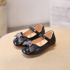 2019  Girls flat soles dress shoe Comfortable sweet princess shoes black 8.5