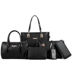6 Piece Set Bag Handbags For Women Bags Purse Shoulder Tote Bags pu Material  size29*12*24cm black one size