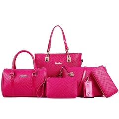6 Piece Set Bag Handbags For Women Bags Purse Shoulder Tote Bags pu Material  size29*12*24cm red one size