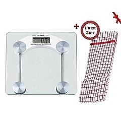 Digital Glass Weighing Bathroom Scale + FREE Gift Hand Towel