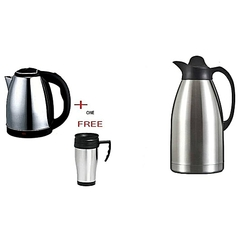 Scarlett Cordless Electric Kettle 2L + Thermos Flask 2L + FREE Travel Mug silver