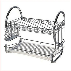 2 Tier Stainless Steel Dish Rack Drainer silver One Size