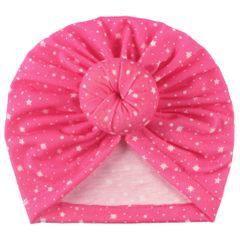 Baby kids girl boy pretty head wraps Caps bonnie head cover bonnet hair health Black one piece deep pink ordinary