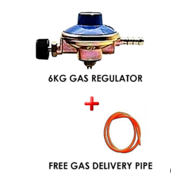 6kg Gas Regulator Plus Gas Delivery Pipe (for 6Kg Gas Cylinder)  I metre Orange & blue normal
