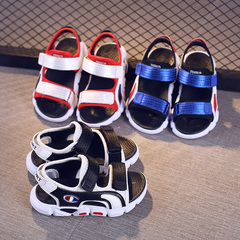 New Kids Sandals 100% soft leather in summer boys and girls children beach shoes kids sport sandals blue 26