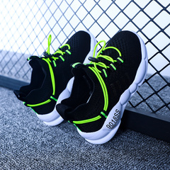 Breathable Kids Sports Shoes Baby Boys Girls Lace-Up Sneakers Jogging Shoes Black+Green 27