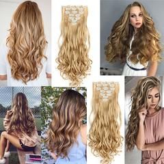 Chemical fiber set CLIP hair long curly hair high-temperature silk hair curtain 16 card wig SC88 - 4H26# normal