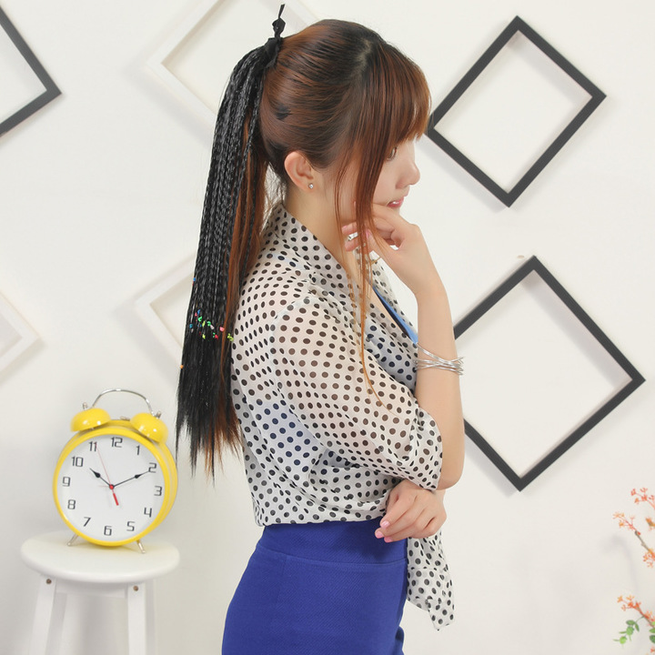 Ethnic wind hand-woven small dirty braid wig horsetail long hair ponytail small braid false tail Black normal