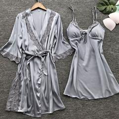 Sexy Lace Silk Women Robe & Gown Sets 2PCS Summer Satin Lingerie Nightwear Sleepwear Robe Suit grey s