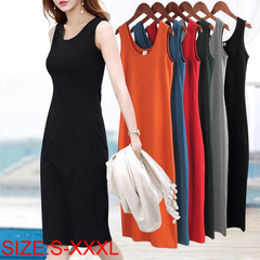 Hot sale summer 1 0r 2pc women's long Dresses, loose sleeveless suspender waistcoat long skirt S BLACK