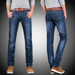 Hot Sale Men's Jeans Slim, Men's Straight Cylinder Trousers, Casual Mid-waist Trousers blue 32
