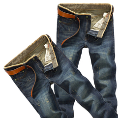 Men's casual retro jeans men's trousers straight ripped jeans slacks Hand-made old processed jeans 087# retro 34