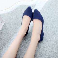 Hot sale women's tip-toed waterproof shoes, sloping heel soft sole , size small buy large one size blue 41