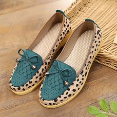 Hot Sale Women's leopard print shoes, casual flat bow shoes, one-legged soft bottom shoes blue 35