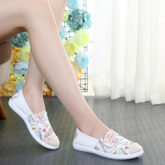 Hot Sale Women's Canvas Shoes ,Single Shoes ,Low Up Flat Bottom Cloth Shoes , Soft Bottom Shoes Pink Bird 35