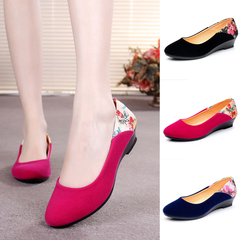 Women's Cloth Single Shoes, Comfortable Slope heels, Mid-heel Shoes, Ladies' Leisure Working Shoes red 34