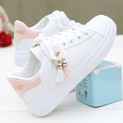 Women's box-packed  shoes ladies' flat shoes girls sneakers Athletic students casual  shoes white+pink 40(6)