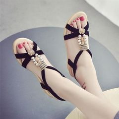 Women's new slope heel sandals ,ladies flat sole shoes , student shoes thick sole middle heel shoes black 40
