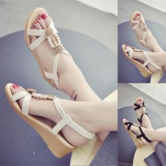 Women's new slope heel sandals ,ladies flat sole shoes , student shoes thick sole middle heel shoes beige 38