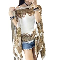Thin summer Ladies' tops chiffon clothing Women's sun protection shawl jacket yarn scarf beach cloa white one size