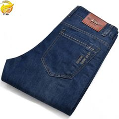 Men's stretch jeans straight business thin section mid-waist boy's loose trousers casual men's pants Navy 36