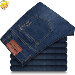 Men's stretch jeans straight business thin section mid-waist boy's loose trousers casual men's pants Navy 34