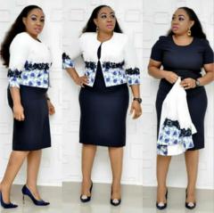 24/5000   African women's dress print plus-size African mother coat dress dress women xl navy blue