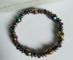 Hot style color black gallstone bracelet new magnet hand-woven hand string The picture color