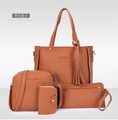 2019 new fashion 4pcs Women Composite Bag Set Luxury PU Leather Purse handbag brown one set