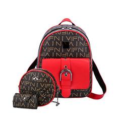 3pcs/Set PU Leather Backpack bags for women Girls Solid Shoulder Mini Backpack Bag Mochila Feminina red one set