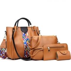 4 Pcs/Set Fashion Handbags Women's Shoulder Bag High Quality PU Leather Handbag brown one set