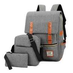 3 Pcs/Set Unisex Backpacks bags For School Teenagers Girls Fashion Woman Shoulder Bag Backpack Set gray one set