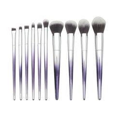 10 pcs of Makeup Brushes Set Makeup Brush Foundation Powder Eyeshadow Brush Set Silver-purple