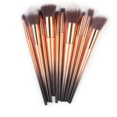 10 pcs of Makeup Brushes Set Makeup Brush Foundation Powder Eyeshadow Brush Set Golden-black