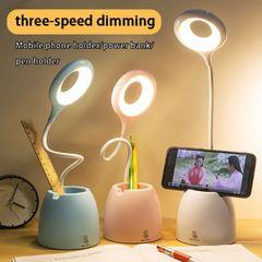 Hope Rechargeble Light Table Lamp USB Touch Night Light Desk Light Multi-Function Bracket Pen Holder White 44CM 6W