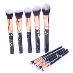 10pcs Set of Makeup Brushes Marble Face Eye Powder Foundation Eye Shadow Soft Brush Pink