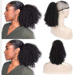 Summer Choice New 2019 Wig Curly Black Hair Ponytail Short Kinky Curly Hair Extensions For Women Blak Q14 1B 25cm