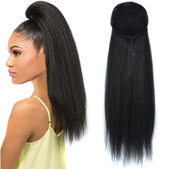 Fast Delivery1-5days LadyGift Brazilian Hair Corn Curly Horsetail Ponytail Extensions Wigs For Women 1B# black 22inch