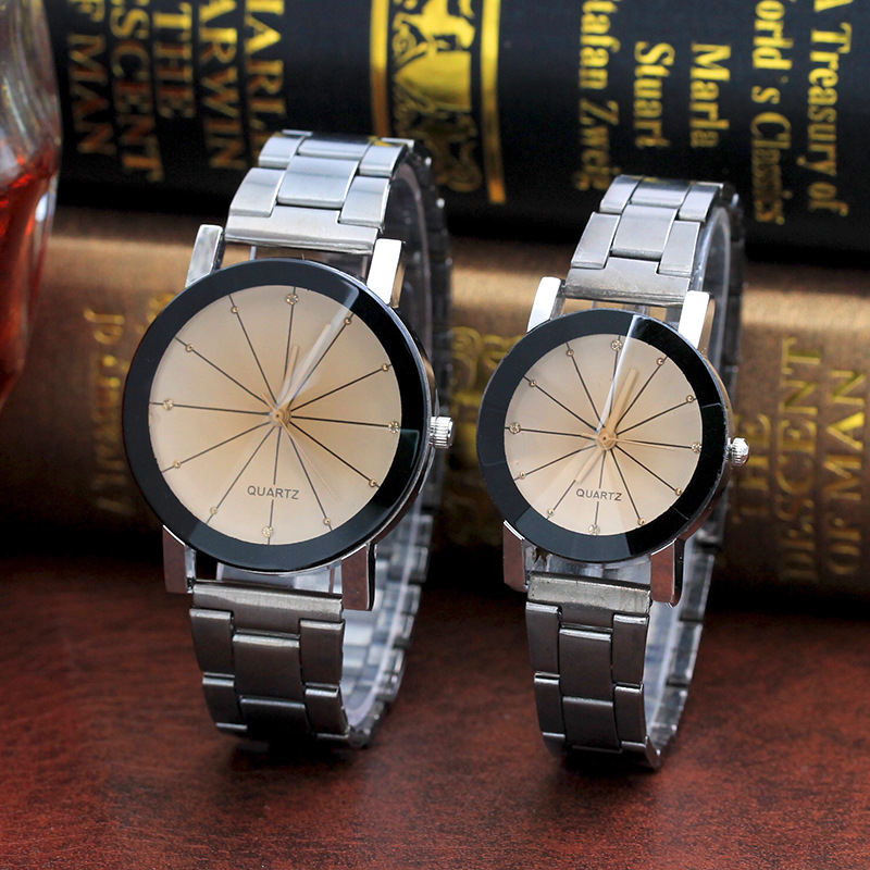 Men And  Women  Ray Steel Band Lovers Watch  Alloy  watch Tan glass Fireworks Quartz  Watch white dial couple(1 male and 1 female) 2