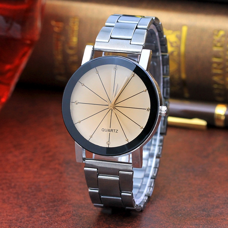 Men And  Women  Ray Steel Band Lovers Watch  Alloy  watch Tan glass Fireworks Quartz  Watch white dial couple(1 male and 1 female) 7